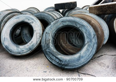 Tires Heap On Cement Ground, Used Car Tires