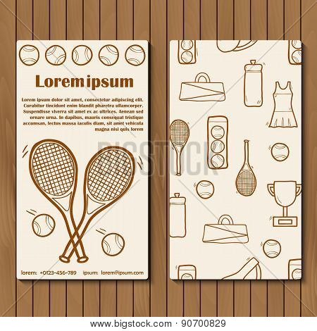 Template for tennis booklet, card of flyer with hand drawn objects