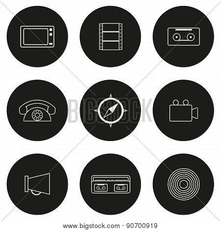 Set of flat icons on retro theme