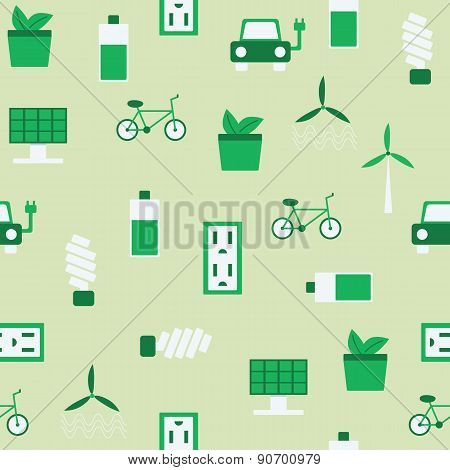 Seamless background on renewable energy theme with flat objects