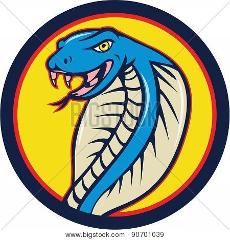 Cobra Viper Snake Head Attacking Circle Cartoon