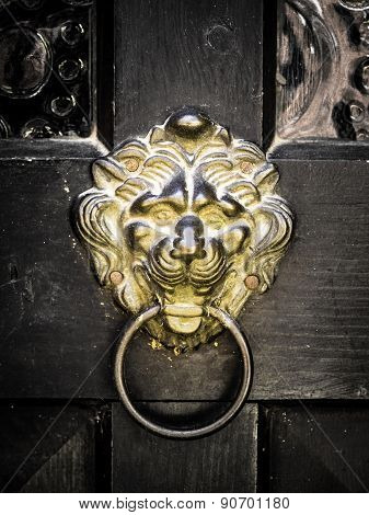 Antique Door Knocker Shaped Golden Lion's Head