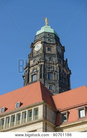 Old Tower Of New Town Hall In Dresden, Saxony, Germany.