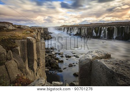 Selfoss waterfall on Jokulsa a Fjollum river in Iceland