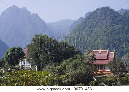 Buddhist temple at Ban Phatang, Lao people democratic republic