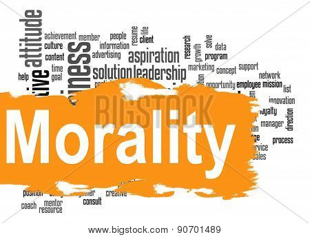 Morality Word Cloud With Yellow Banner