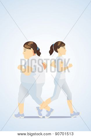 Slim women jogging and fat