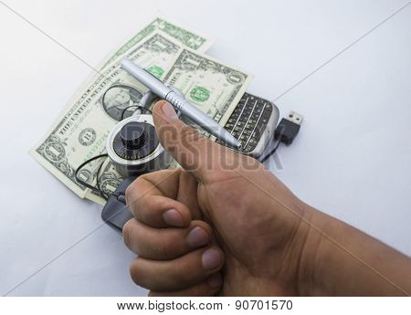 Mouse affair with dollars (taxes) and pen