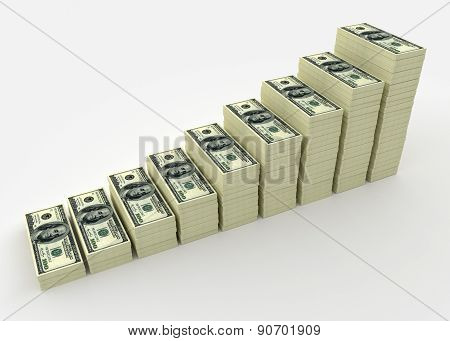 Money Stack From Dollars. Finance Concepts