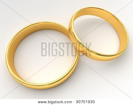 Wedding Gold Rings Lie On Each Other