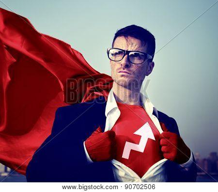 Strong Superhero Businessman Development Concepts