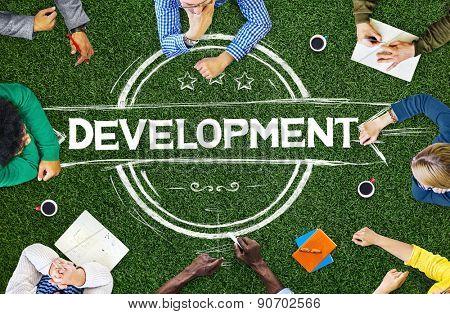 Diverse People Development Badge Banner Concept