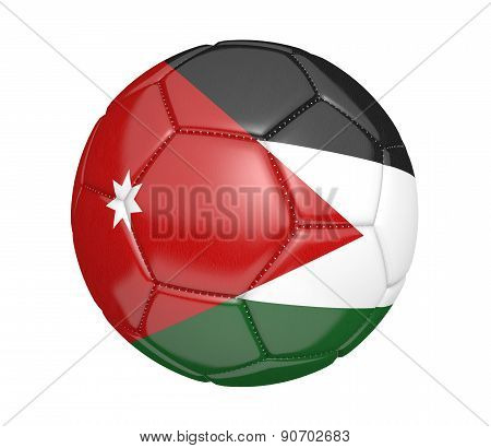 Soccer ball, or football, with the country flag of Jordan