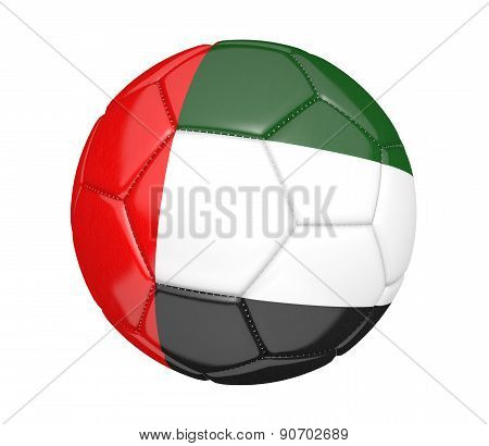 Soccer ball, or football, with the country flag of United Arab Emirates