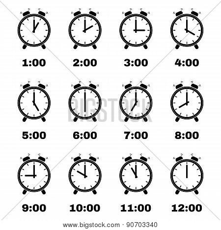 The Alarm Clock Icon.  Alarm Clock Symbol. Set