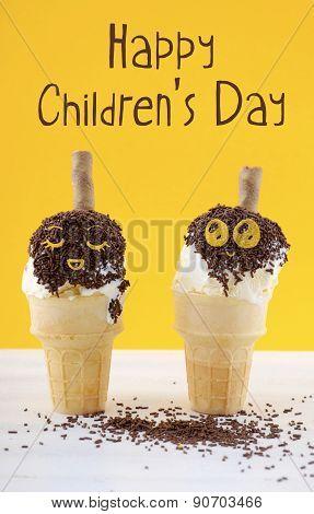 Happy Childrens Day Concept With Fun Ice Cream Cones.