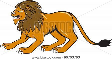 Angry Lion Crouching Side Cartoon