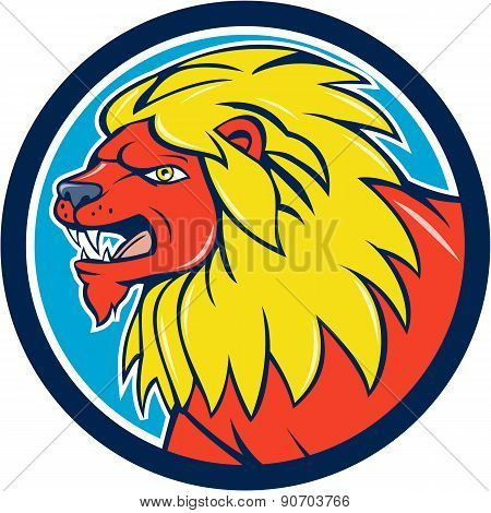 Angry Lion Head Roar Circle Cartoon