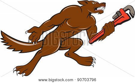 Wolf Plumber Monkey Wrench Isolated Cartoon