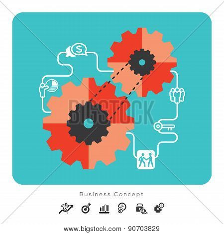 Business Concept Icons With Gear Illustration