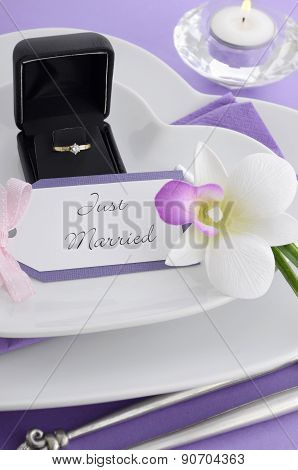 Purple Theme Wedding Table Place Setting.