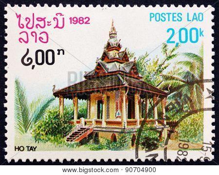 Postage Stamp Laos 1982 Ho Tay, Pagoda