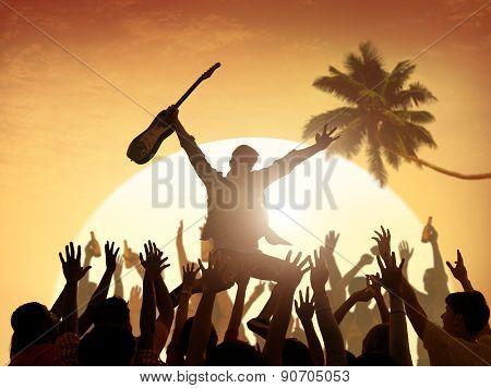 Summer Music Festival Enjoyment Fun Vacation Teenager Concept