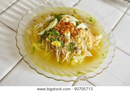 Soto, one of traditional Indonesia chicken soup with many herbs and spices