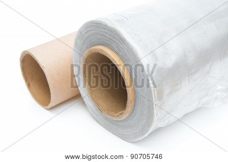 Roll Of Wrapping Plastic Stretch Film With An Empty One On White Background