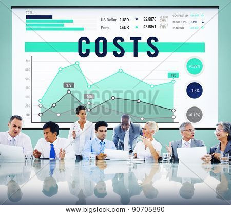 Business Meeting Costs Graph Concept