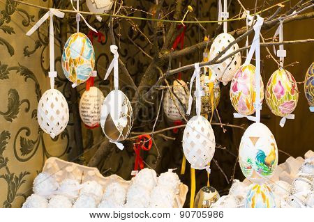 Colorful Painted Easter Eggs On The Tree