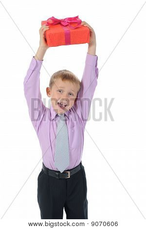 Boy Holding Present Box