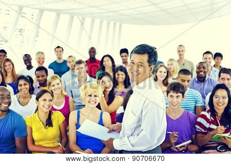 Group People Casual Lecture Teacher Speaker Notes Concept