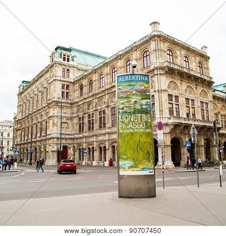 Vienna Street View And Advertisement Of Albertina