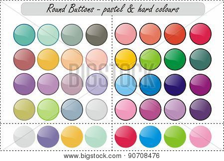 Shiny web buttons - pastel and hard colours
