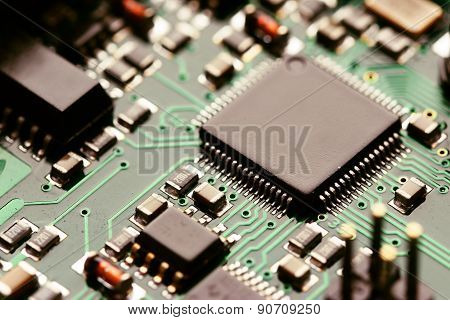 Close-up of electronic circuit board with components