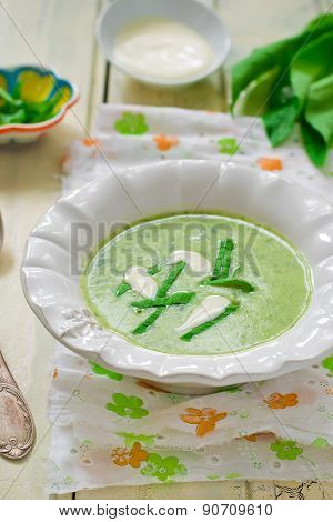 Potatoes Puree Soup  With A Ramson
