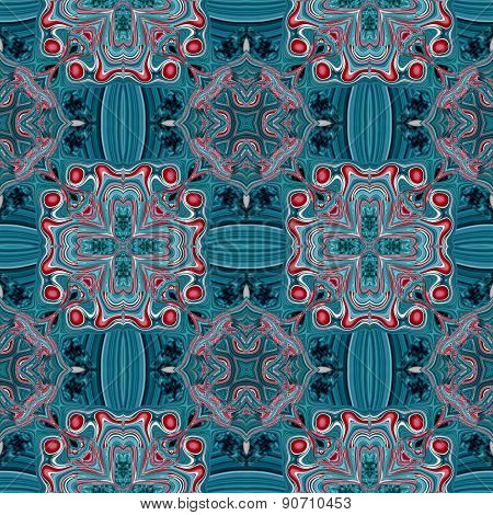Seamless Kaleidoscopic Pattern In Blue And Red 3