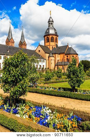 Convent Garden and Basilica in Seligenstadt on the Banks of the River Main,   Germany