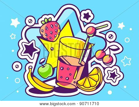 Vector Illustration Of Glass Of Juice With Fruits On Blue Background With Big Star.