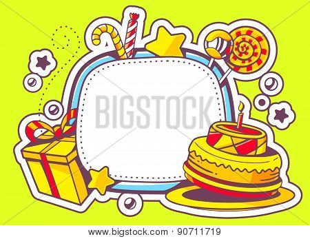 Vector Illustration Of Cake, Gift And Confection With Frame On Green Background With Star And Dot.