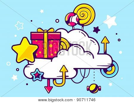 Vector Illustration Of Gift Box And Confection With Cloud On Blue Background With Star And Dot.