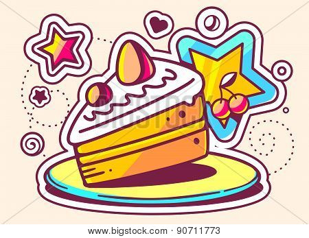Vector Illustration Of Piece Of Cake On A Plate With A Star On Light Background.