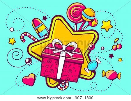 Vector Illustration Of Gift Box And Confection  On Green Background With Star And Dot.