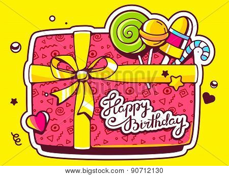 Vector Illustration Of Gift Box Top View And Confectionery With Text Happy Birthday On Yellow Backgr