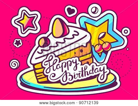 Vector Illustration Of Piece Of Cake On A Plate With A Star With Text Happy Birthday On Red Backgrou