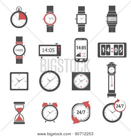Time Icon Black Set