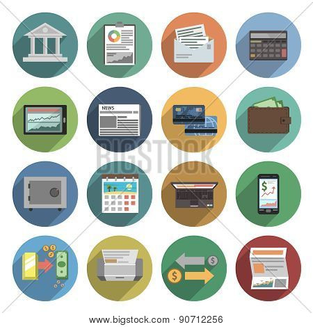 Bank Icons Flat Set