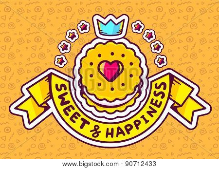 Vector Illustration Of Cookie Top View With Text Sweet&happiness With Star And Crown  On Orange Patt