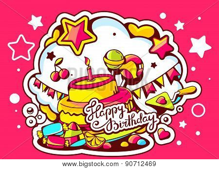 Vector Illustration Of Cake With Candle, Sweets And Flags With Text Happy Birthday On Red Background